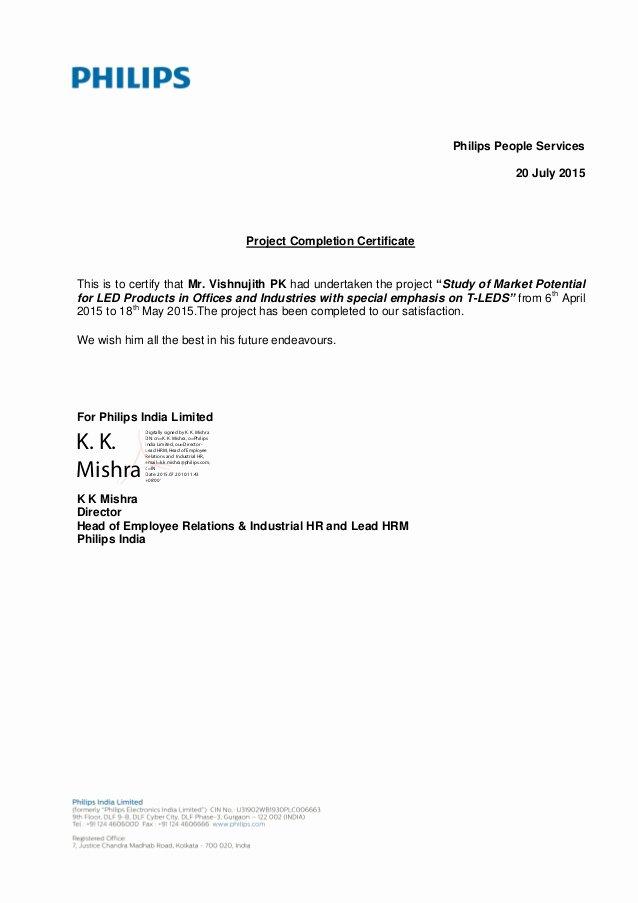 Certificate Of Satisfaction Template Best Of Vishnujith Pk Intern Pletion Letter