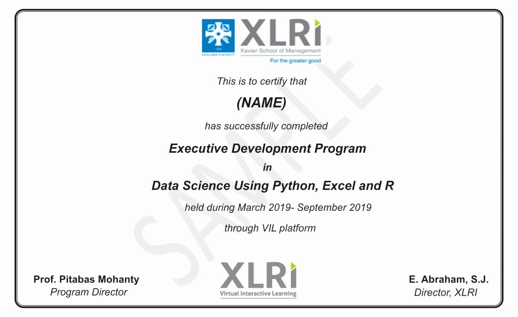 Certificate Of Satisfaction Template Lovely Data Science Course Using R & Excel From Xlri Jamshedpur