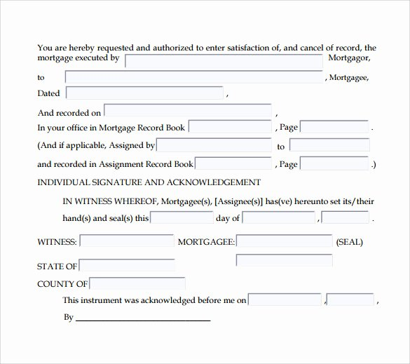 Certificate Of Satisfaction Template New Satisfaction Of Mortgage form 7 Download Free Documents