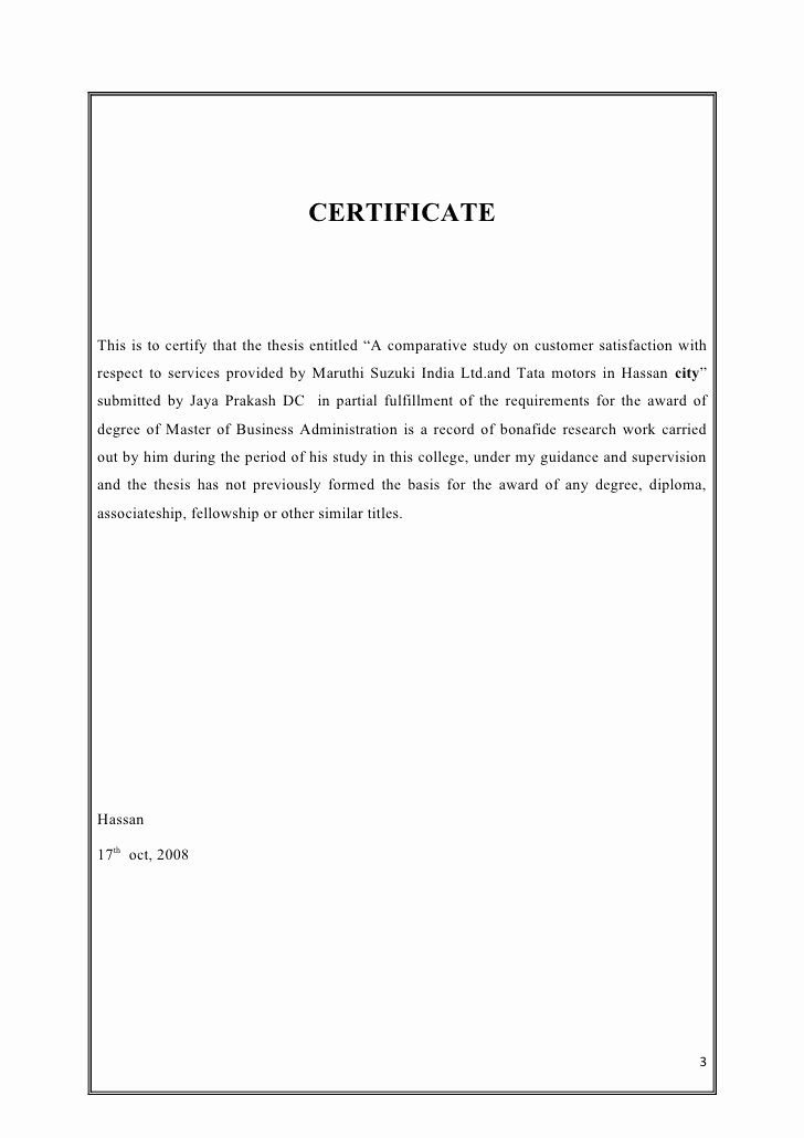 Certificate Of Satisfaction Template Unique A Parative Study On Customer Satisfaction
