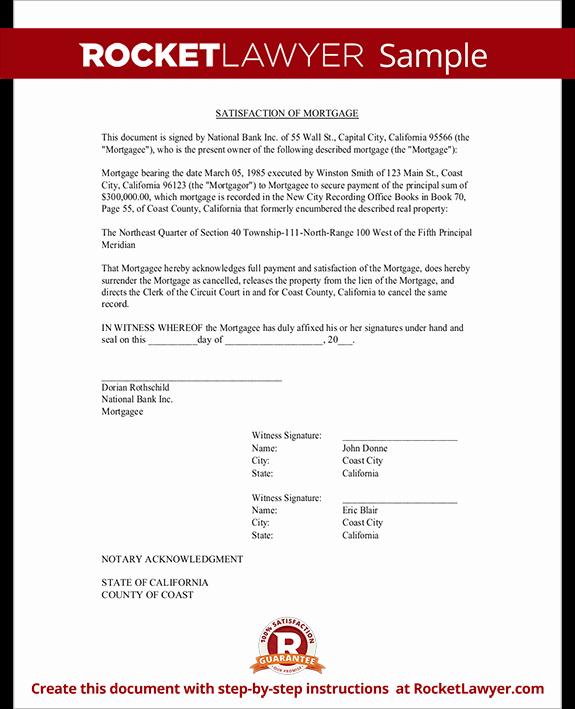 Certificate Of Satisfaction Template Unique Satisfaction Of Mortgage form Release Of Mortgage
