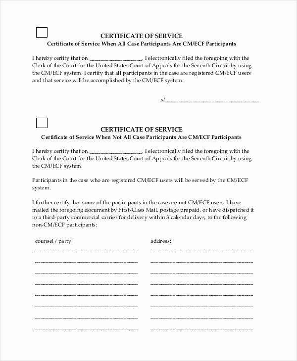 Certificate Of Service Sample Beautiful Free 15 Sample Certificate Of Service forms