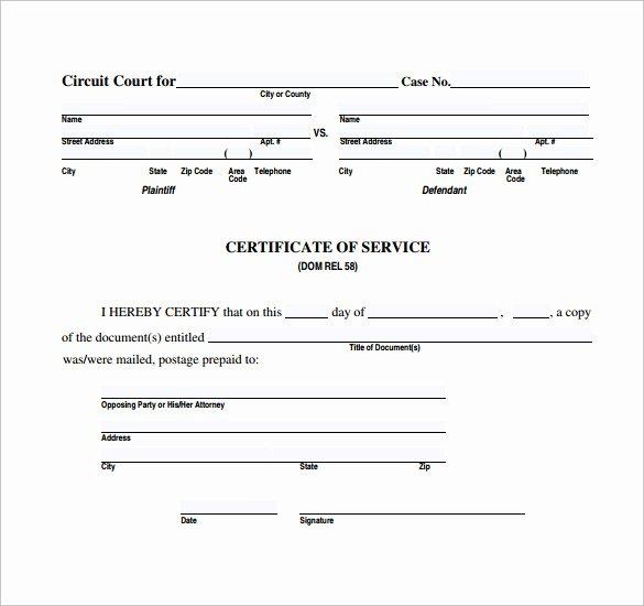 Certificate Of Service Sample Elegant Sample Certificate Of Service Template 20 Documents In