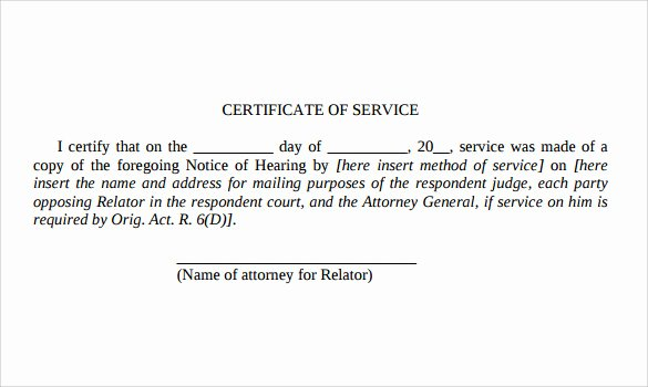 Certificate Of Service Sample Luxury Certificate Of Service Template 14 Download Documents