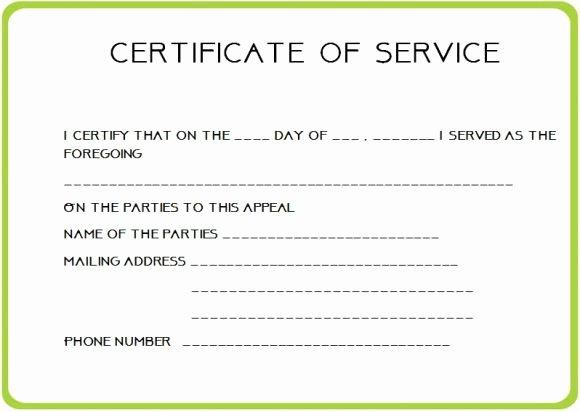 Certificate Of Service Template Fresh 12 Service Certificate Templates