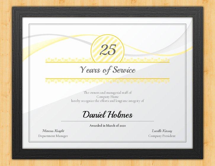 Certificate Of Service Template Luxury Longevity Years Of Service Certificate Template Award Hut