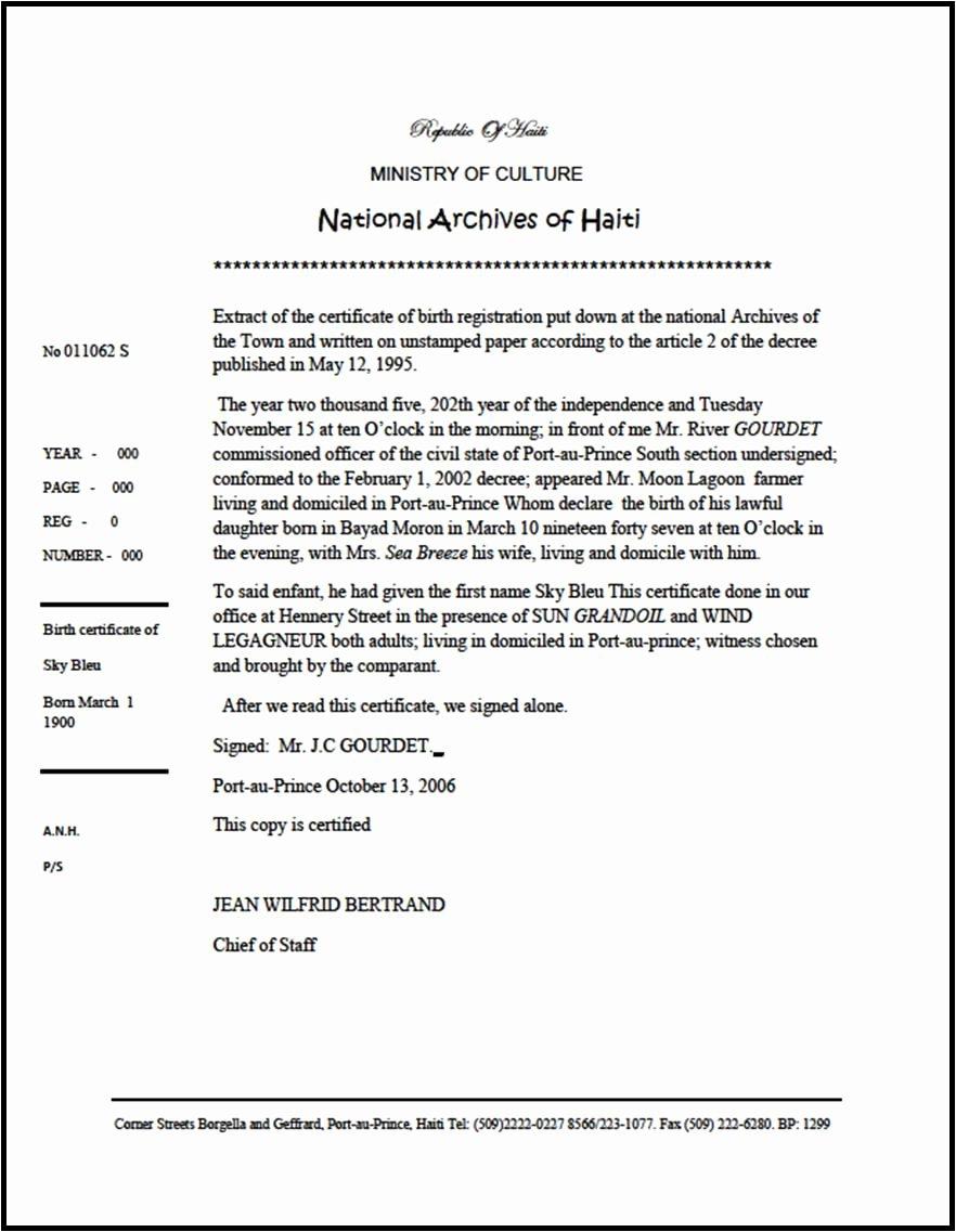 Certificate Of Translation Template Elegant Caribbean Living Haiti Extrait D Acte De Naissance