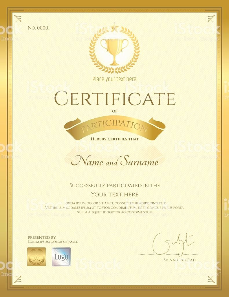 Certificate Seal Template Word Best Of Portrait Certificate Of Participation In Gold theme with