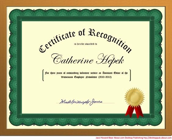 Certificate Seal Template Word Lovely How to Create Certificates Of Recognition In Microsoft
