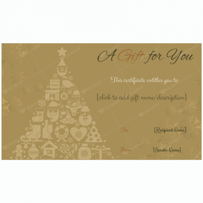 Certificate Template for Google Docs Luxury Golden Trees Christmas Gift Card Template Word Layouts