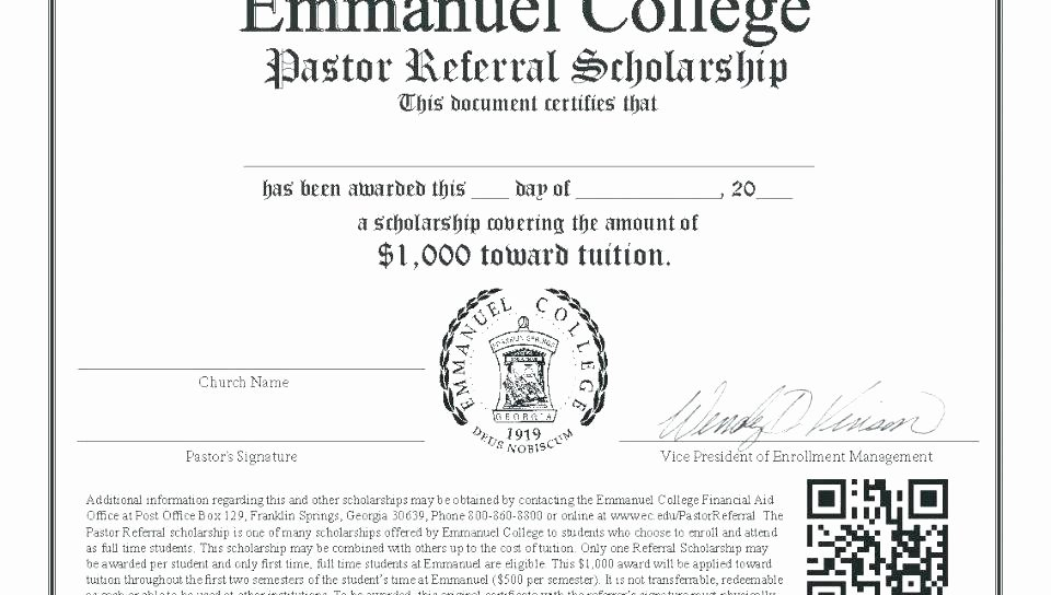 Certificate Template for Google Docs New Memorial Scholarship Certificate Template