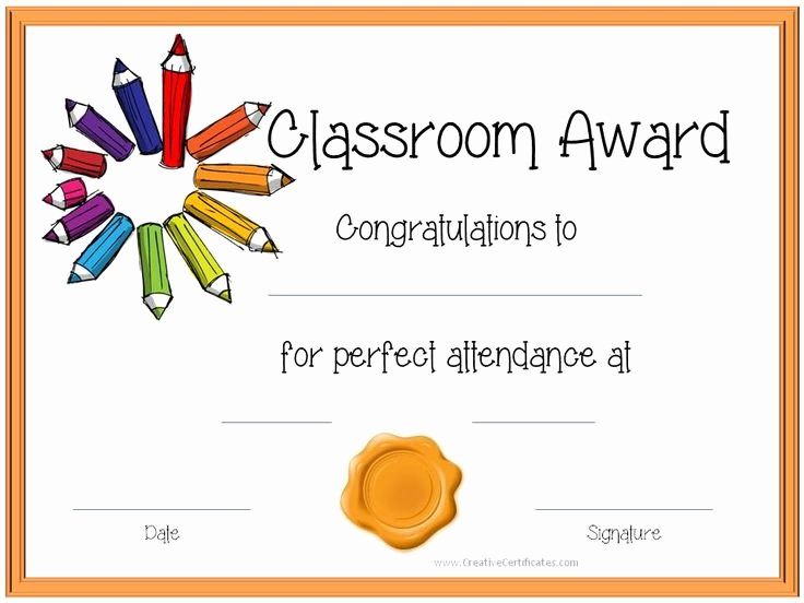 Certificate Template for Kids Awesome Certificate Template for Kids Perfect attendance Award