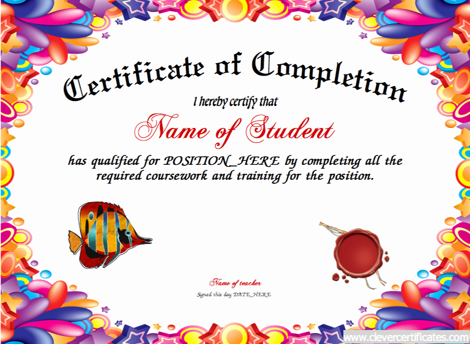 Certificate Template for Kids Best Of Pletion Certificate Awards to Congratulate Motivate