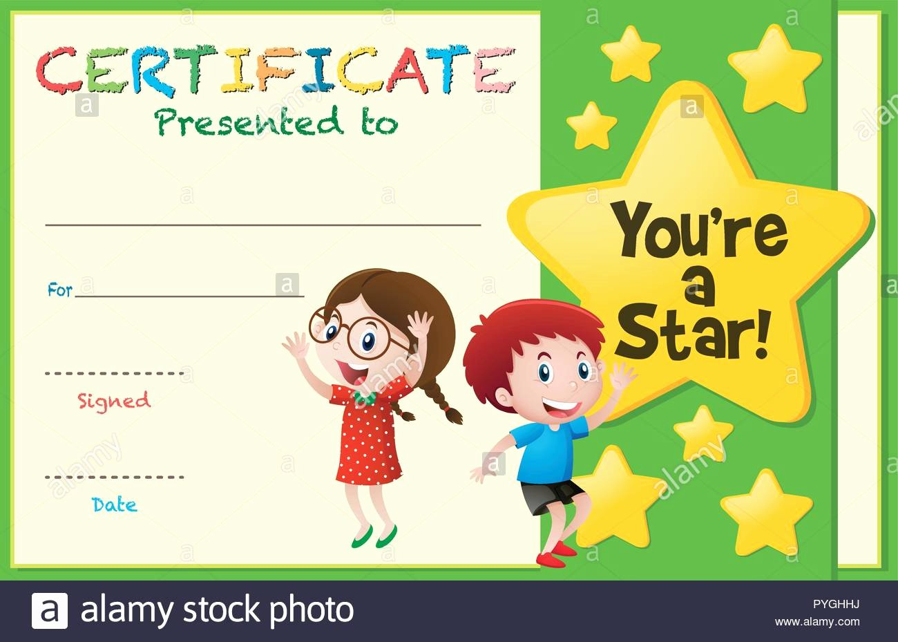 Certificate Template for Kids Elegant Certificate Template with Kids and Stars Illustration
