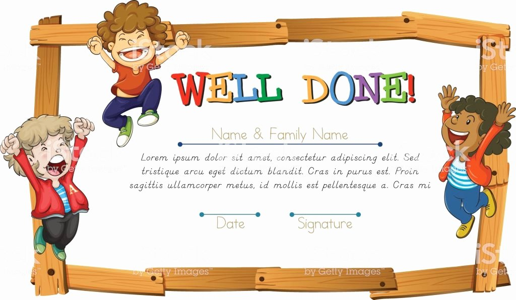 Certificate Template for Kids Elegant Certificate Template with Kids and Wooden Frame Stock