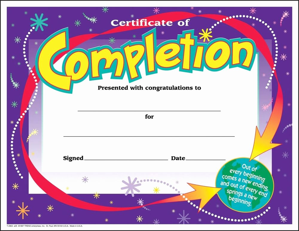 Certificate Template for Kids Inspirational 30 Certificates Of Pletion Large Certificate Award