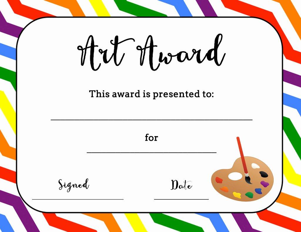 Certificate Template for Kids Inspirational Art Award Certificate Free Printable