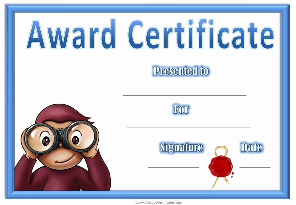 Certificate Template for Kids Inspirational Award Certificates with Curious George