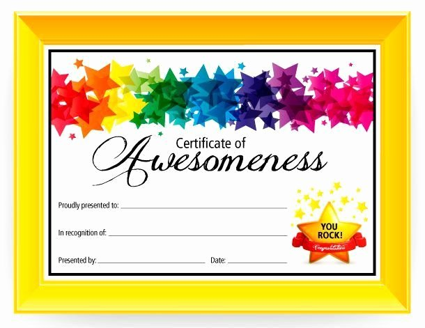Certificate Template for Kids Luxury Certificate Of Awesomeness