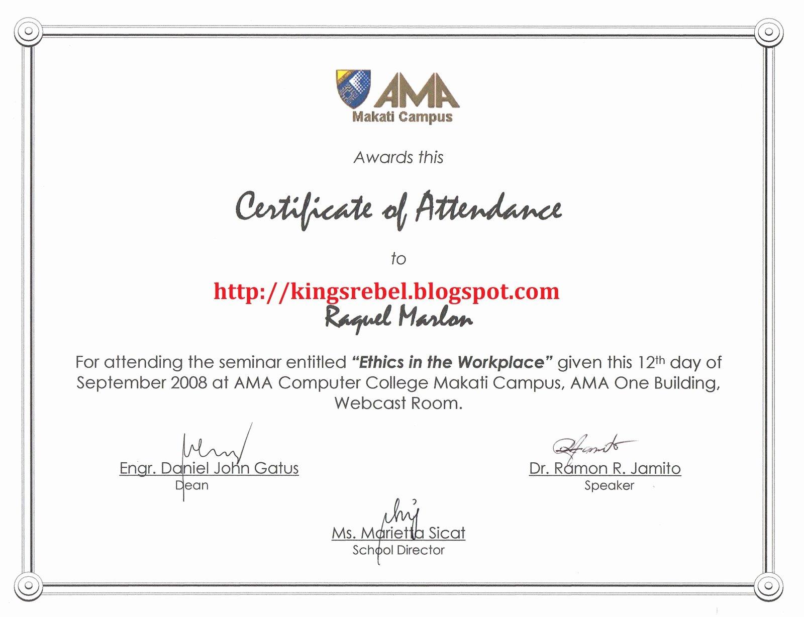 Ceu Certificate Of attendance Template Best Of Best S Of Seminar Certificate attendance Template