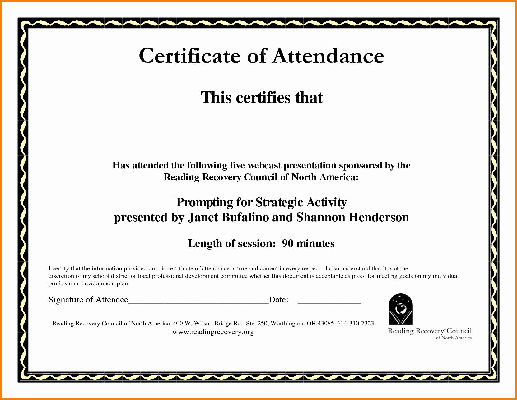 Ceu Certificate Of attendance Template Best Of Certificate attendance Template