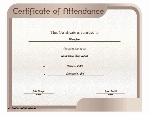 Ceu Certificate Of attendance Template Elegant Certificate Of attendance