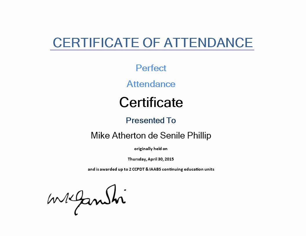Ceu Certificate Of attendance Template Luxury attendance Certificate Sample