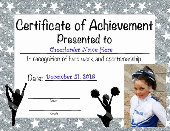 Cheer Awards Certificates Ideas Inspirational Custom Cheerleading Certificate Of by Nanaspartyprintables