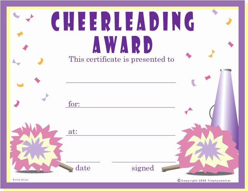 Cheer Awards Certificates Ideas Inspirational Free Cheerleader Certificates Certificate Free Cheerleader
