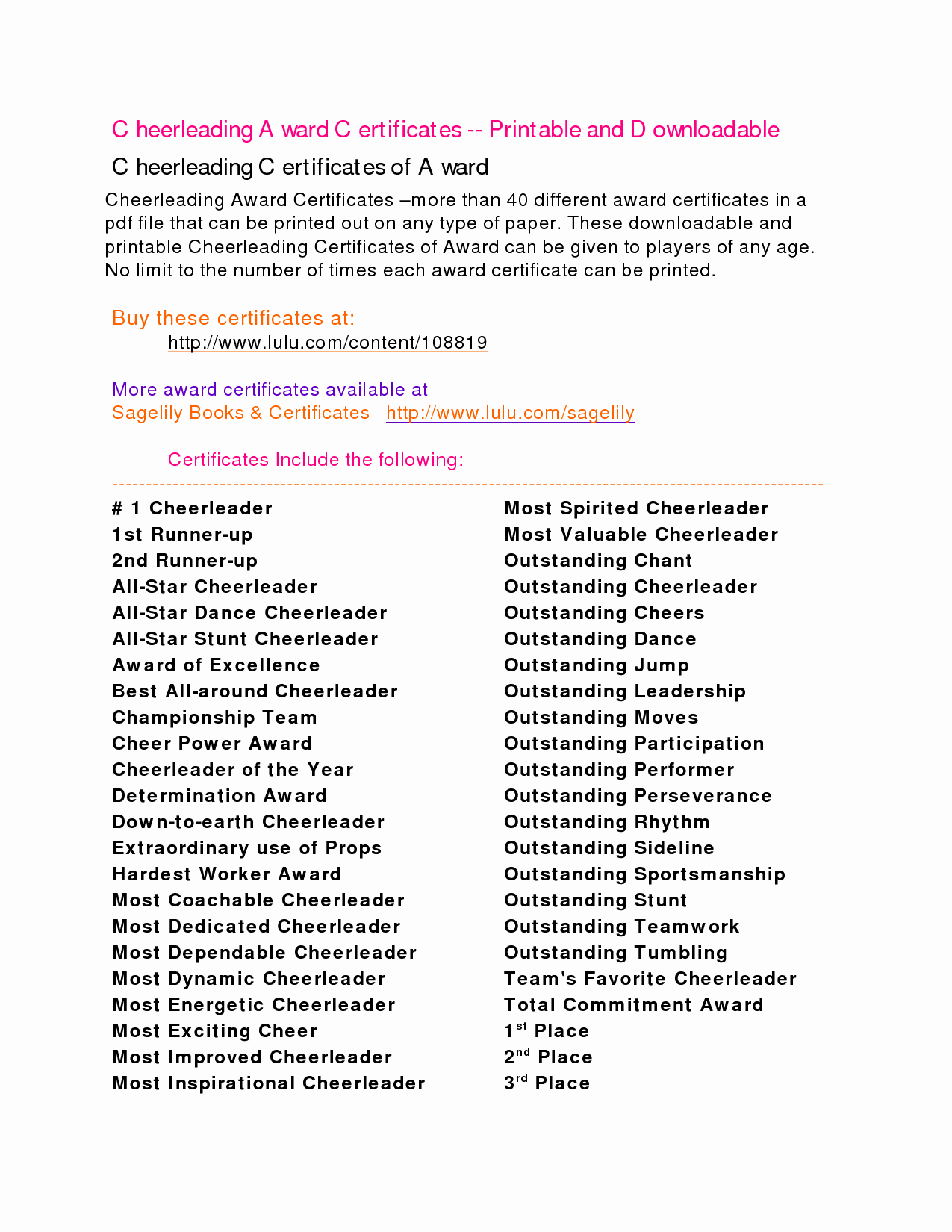 Cheer Awards Certificates Ideas Luxury Cheerleading Awards Google Search