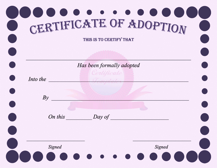 Child Adoption Certificate Template Beautiful Adoption Certificate Template Free Download