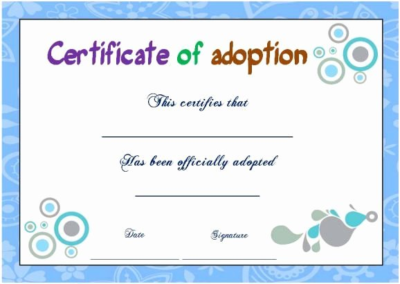 Child Adoption Certificate Template Lovely Blank Adoption Certificate