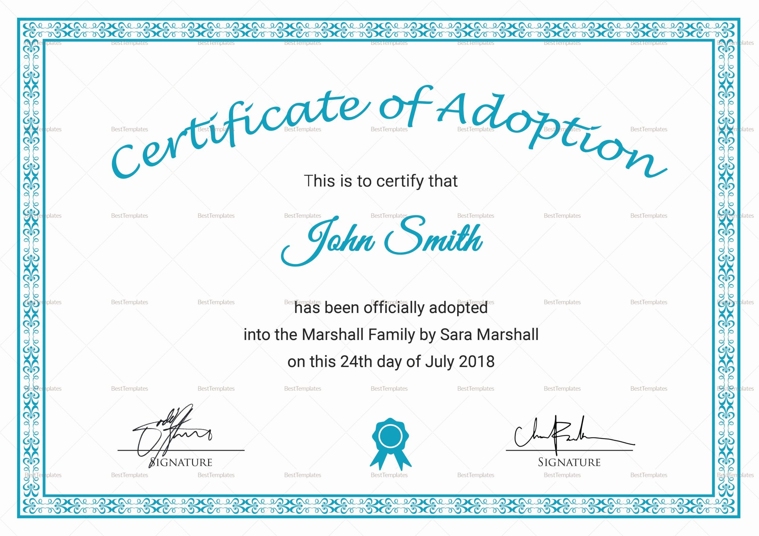 Child Adoption Certificate Template Luxury Printable Adoption Certificate Design Template In Psd Word