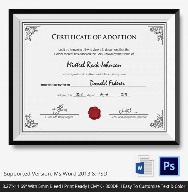 Child Adoption Certificate Template Unique Adoption Certificate Template 12 Free Pdf Psd format