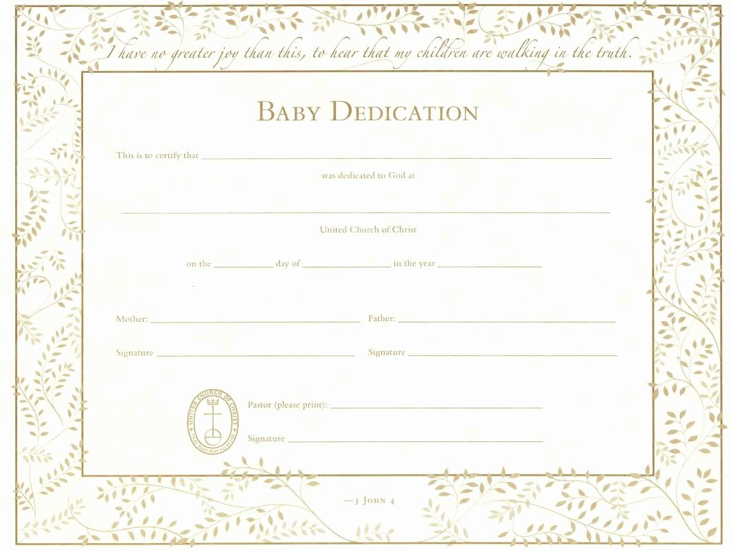 Child Dedication Certificate Editable Beautiful Baby Dedication Certificate