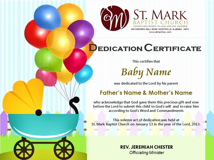Child Dedication Certificate Editable Fresh Baby Dedication Certificate