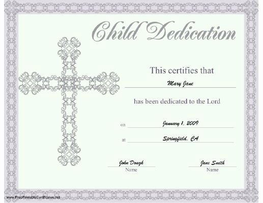 Child Dedication Certificate Template Best Of This Beautiful Religious Certificate Of Child or Baby