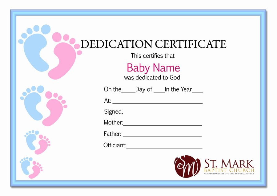 Child Dedication Certificate Template Luxury Baby Dedication Certificate