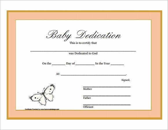 Child Dedication Certificate Template New Baby Dedication Certificate Printable