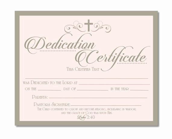 Child Dedication Certificate Templates Elegant Printable Baby Dedication Certificate Digital by