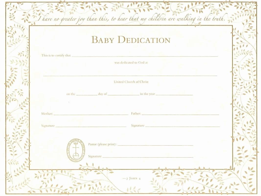 Child Dedication Certificate Templates Unique Baby Dedication Certificate