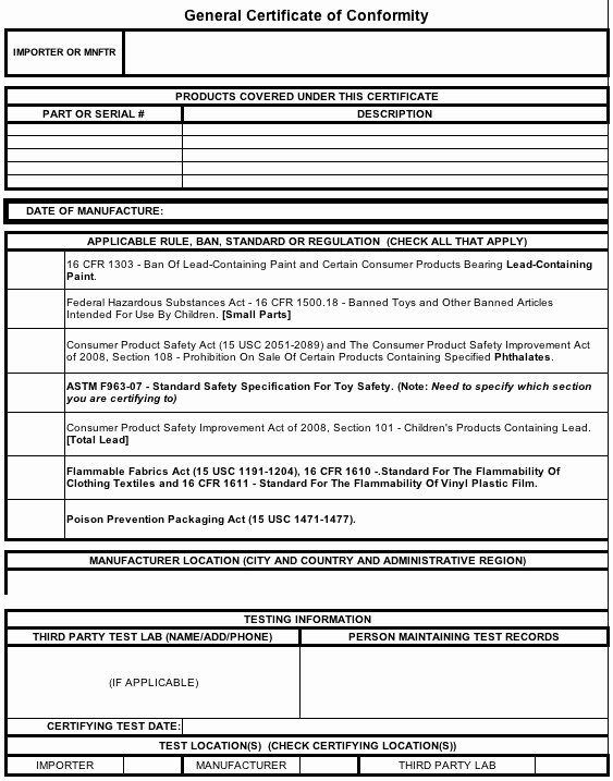 Children's Product Certificate Template Best Of General Certificate Of Conformity