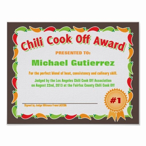 Chili Cook Off Award Certificate Template New Certificate Template Category Page 10 Efoza