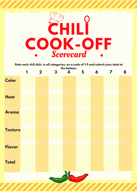Chili Cook Off Certificate Template Unique Chili Cook Off Insider Another Free Invite Scorecard