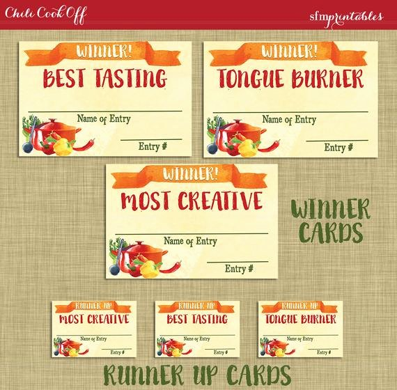 Chili Cook Off Winner Certificate Template New Instant Download Chili Cookoff Winner Badges Labels
