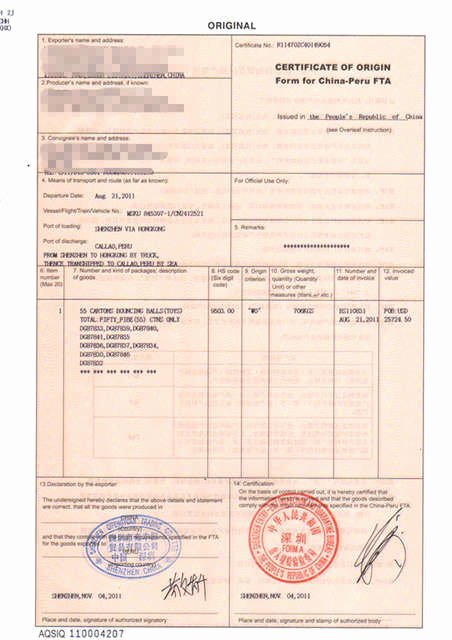 China Certificate Of origin Template Awesome Fta form for China Peru China Certificate Of original