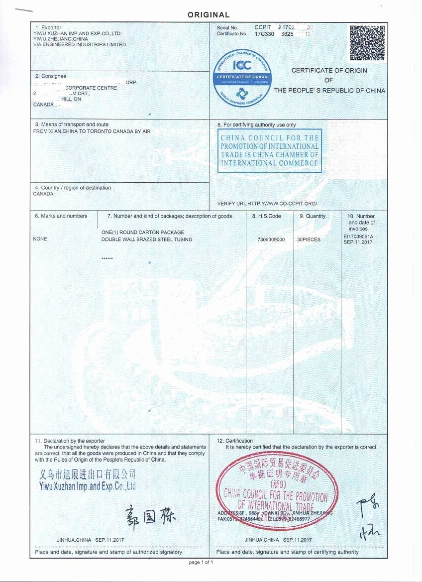 China Certificate Of origin Template Inspirational Sample Certificate Of origin for Bundy Tubes