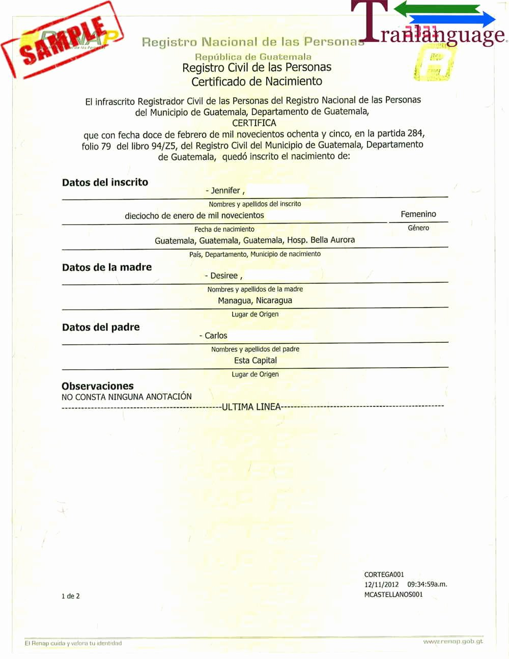 Chinese Marriage Certificate Translation Template New Birth Certificate Guatemala