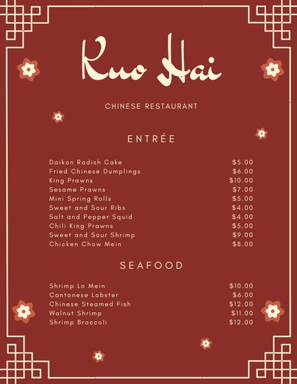 Chinese Restaurant Gift Certificate Template New Customize 1 858 Menu Templates Online Page 3 Canva