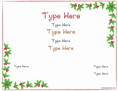Christmas Award Certificate Template Awesome Blank Certificate Christmas Certificate Template